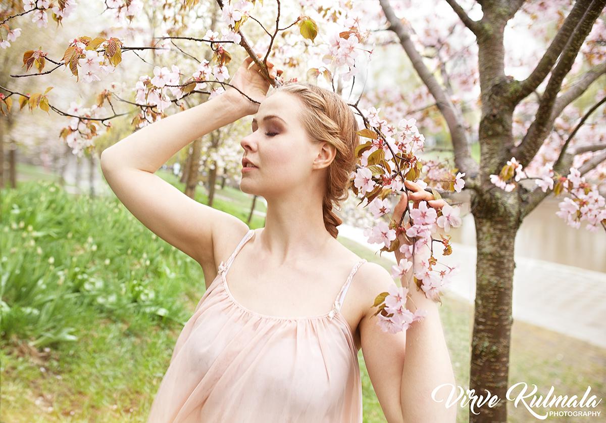Muotokuvausta miljöössä, kirsikankukkien keskellä