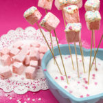Homemade marshmallow lollipops